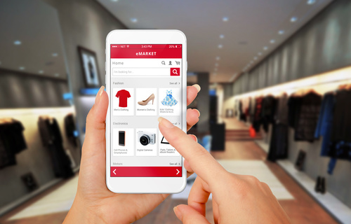 Ecommerce Smart phone online shopping in woman hand. Shopping center in ba
